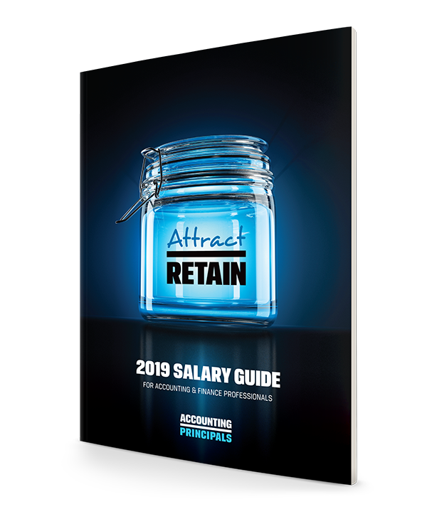 "2019 Salary Guide cover showcasing a glass jar with the words ""attract"" and ""retain"""