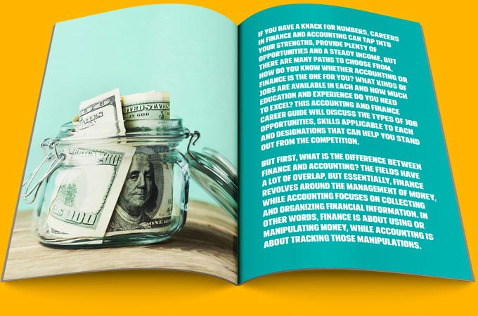 Book pages with words on one side and a picture of money on other