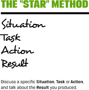 The 'Star Method': Situation, Task, Action, Result. Discuss a specific Situation, Task, or Action and talk about the Result you produced.